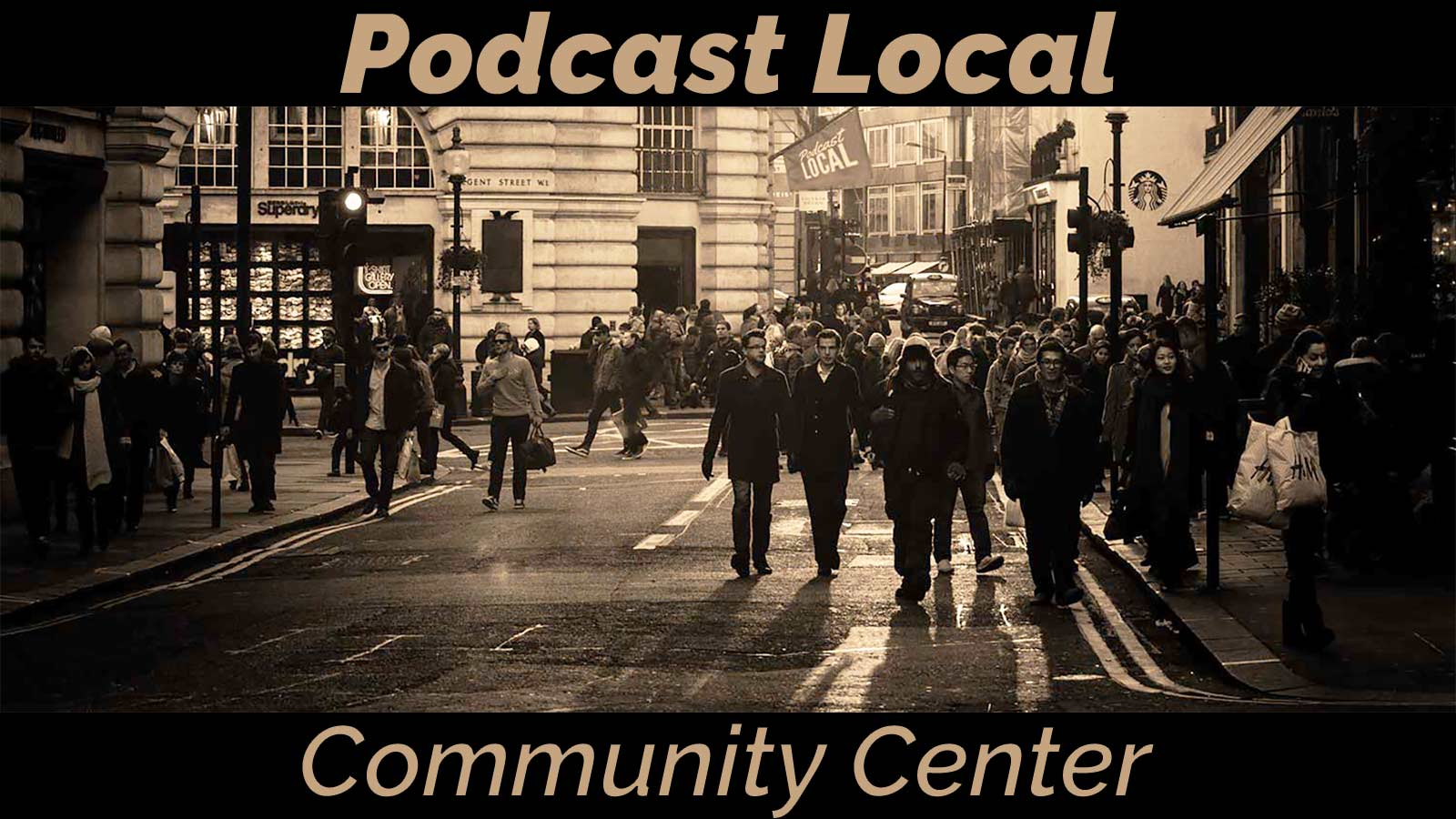 Podcast Local Community Center. a Facebook group where Podcast Local listeners gather to share their own stories of making a local podcast.